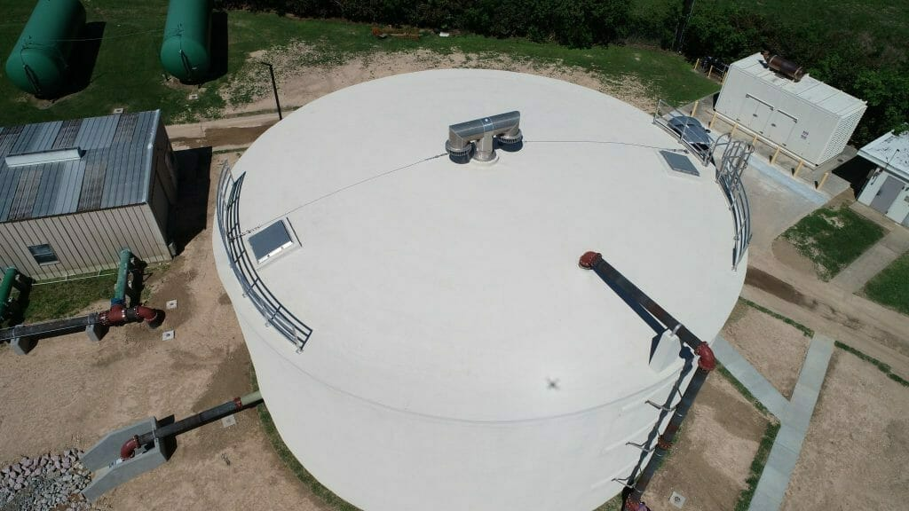 Completed construction: pre-stressed concrete storage tank, Houston, TX.