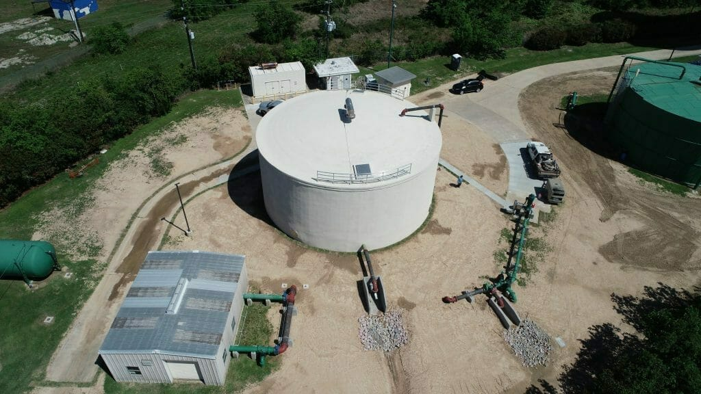 Completed pre-stressed concrete storage tank, Houston, TX