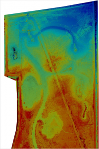 Elevation map of wetlands restoration project in East Texas