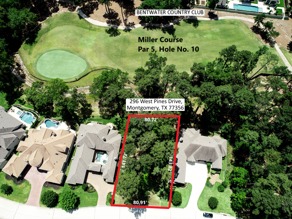 Annotated Aerial Photo of Vacant Residential Lot for Sale (Montgomery, TX)