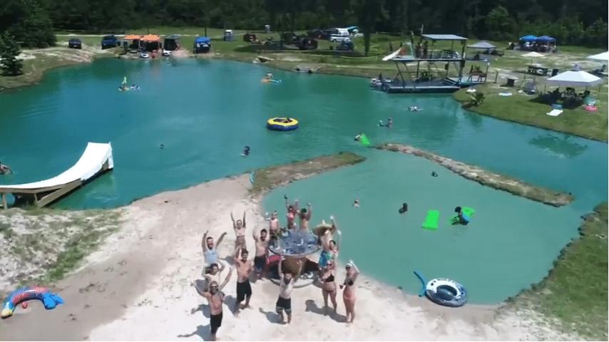 Chadillac's Backyard Waterpark Drone Shot