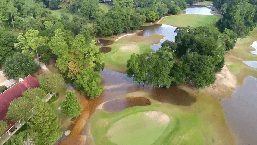 Houston Flooded Golf Course Aerial Video