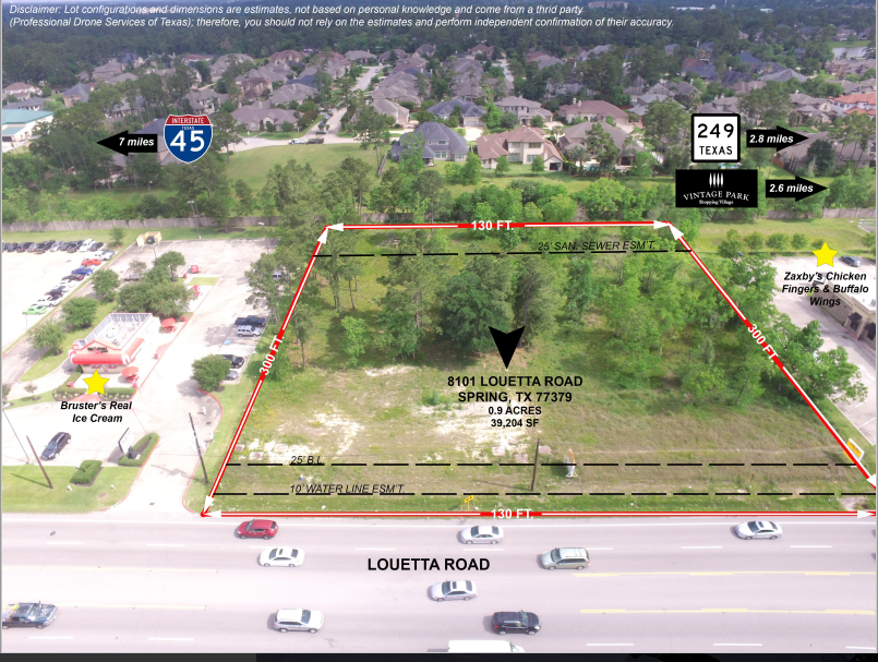 Annotated Aerial Photo of Commercial Property For Sale (Cypress, TX)